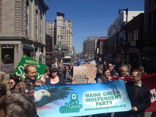 Members of the Maine Green Independent Party marched today (2014) in solidarity with USM staff & students and AGAINST the ongoing austerity. Thank you Samuel Swenson for the photo.