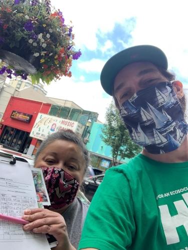 Andrea Merida and Brendan Phillips in Washington for ballot petitioning for Hawkins/Walker