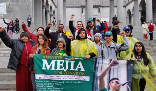 Kenneth Meija and supporters