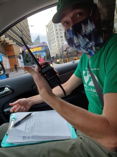Brendan Phillips in Washington for ballot petitioning for Hawkins/Walker