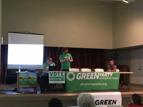 Kicking off our 2019 state convention, Garret Wassermann, co-chair of the Allegheny County Greens