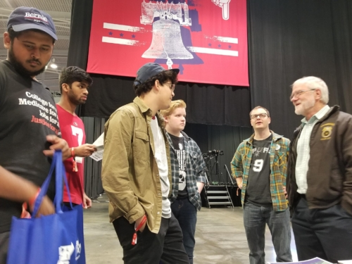 Howie Hawkins and young supporters in Philly