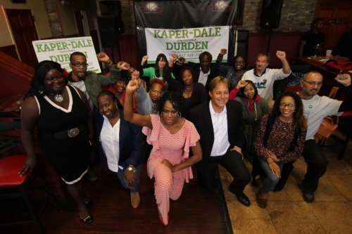 Seth Kaper-Dale and Lisa Darden with supporters