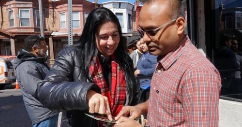 Cheri Honkala campaigning on corner