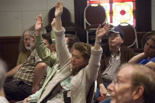 2014 NY State Convention, Dani Liebling with hands raised