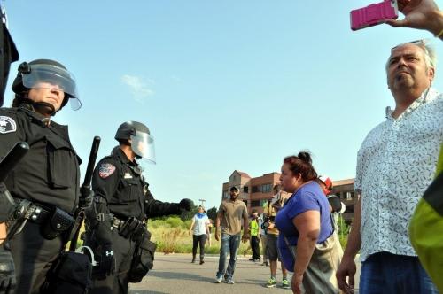 Andrea Merida confronting police
