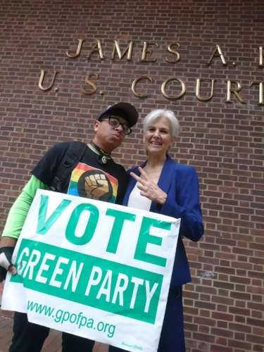 Jill Stein and Alan Smith at Protect Our Vote rally, September 2019, Philadelphia