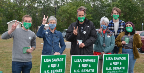 Lisa Savage and supporters