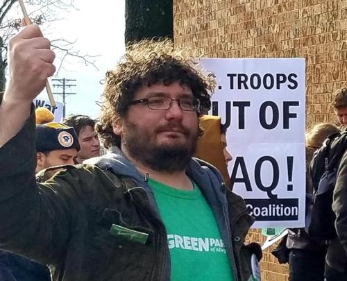 Garrett Wassermann at an AntiWar Action