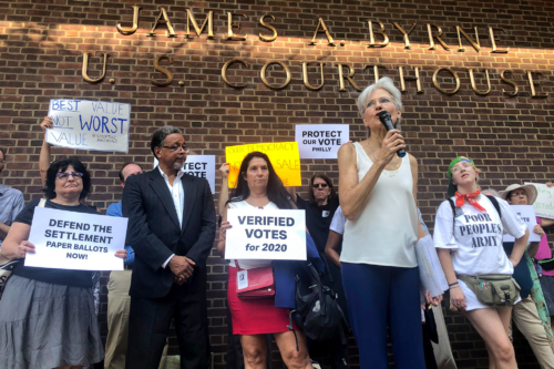 Jill Stein & Cheri Honkala at Protect Our Vote rally, September 2019, Philadelphia